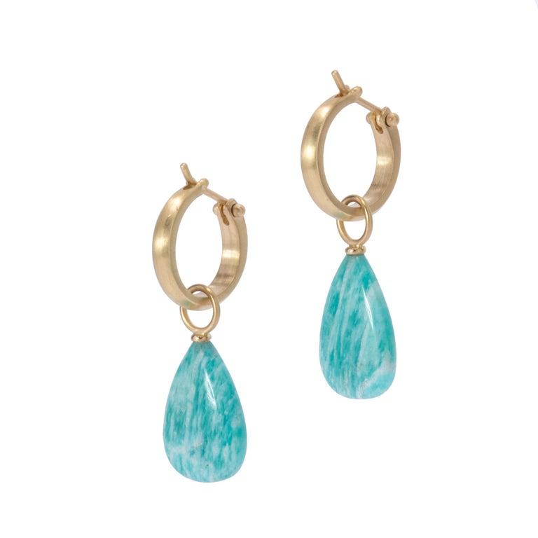 Women's or Men's Brazilian Amazonite Drop Earrings in 18 Karat Gold For Sale
