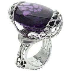 Brazilian Amethyst 77.5 Carat, Diamond 18 Karat White Gold Cocktail Ring