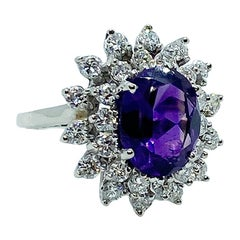 Brazilian Amethyst and Diamond Halo Cluster Ring 1.30 Total Diamond Weight