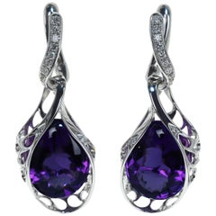 Brazilian Amethyst Diamond 18 Karat White Gold Dangle Earrings