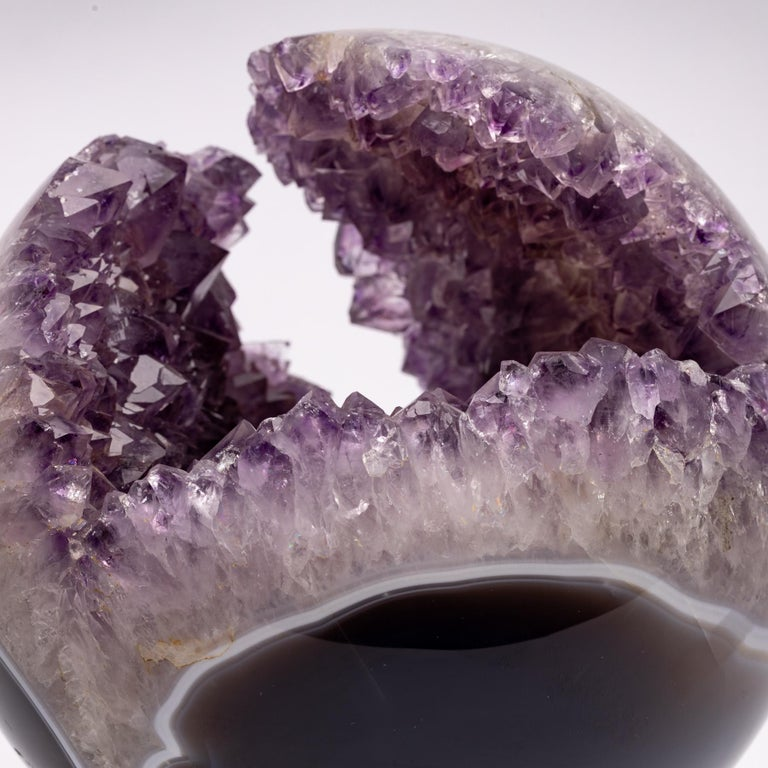Brazilian Amethyst Quartz Crystal Sphere Mounted on a Nicke-Plated Metal Ring For Sale 4