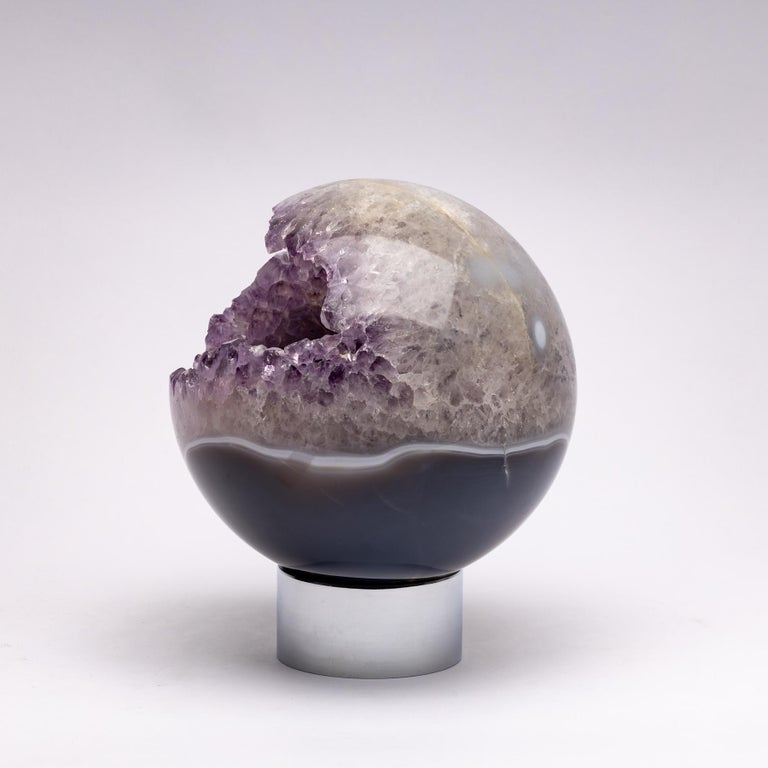 Organic Modern Brazilian Amethyst Quartz Crystal Sphere Mounted on a Nicke-Plated Metal Ring For Sale
