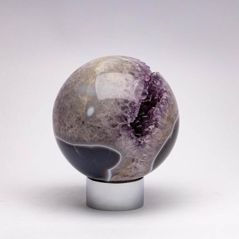 Mexican Brazilian Amethyst Quartz Crystal Sphere Mounted on a Nicke-Plated Metal Ring For Sale