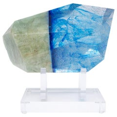 Brazilian Aquamarine and Blue Glass Sculpture on Acrylic Base