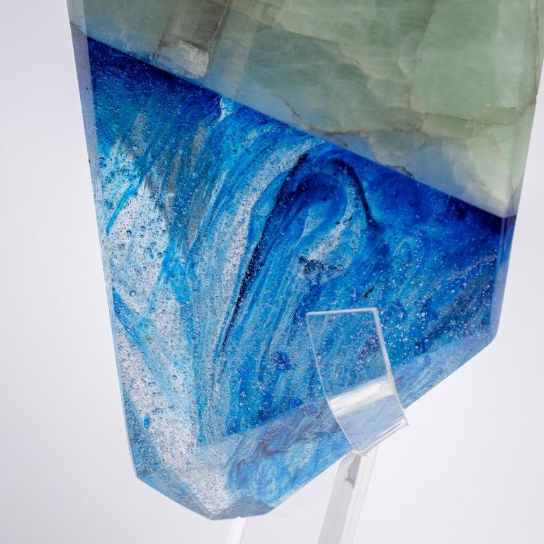 Art Glass Brazilian Aquamarine and Blue Shade Organic Shape Glass Fusion Sculpture For Sale