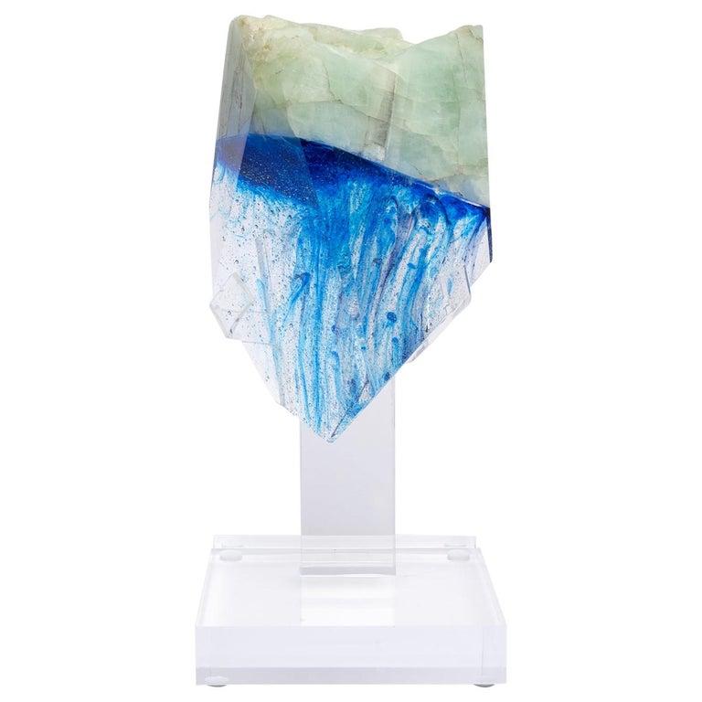 Brazilian Aquamarine and Blue Shade Organic Shape Glass Fusion Sculpture For Sale