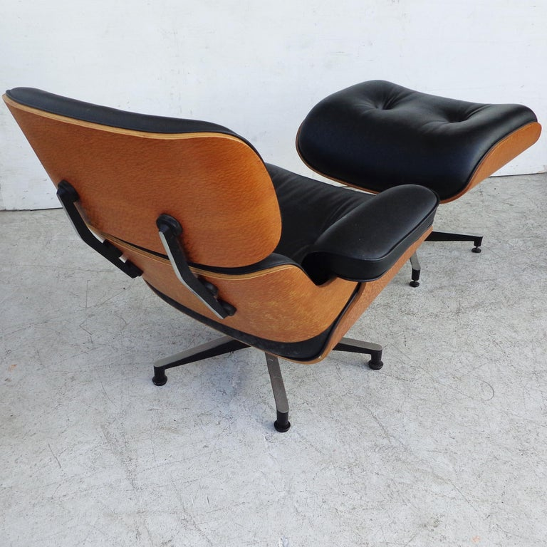Brazilian Artesia Eames Lounge and ottoman  Constructed of Brazilian woods and leather, this is a fine example of a mid century modern classic.   Ottoman: 26