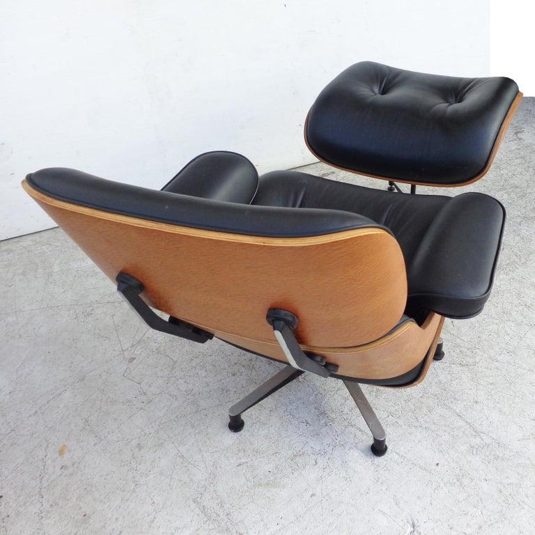 Leather Black Brazilian Artesia Eames Lounge and Ottoman  For Sale