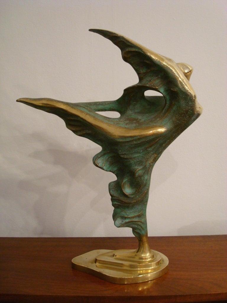 Brazilian / Italian  Bronze Dancing Woman Sculpture by Domenico Calabrone, 1970s For Sale 3