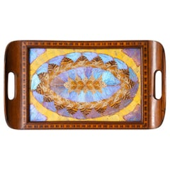 Brazilian Butterfly Wing Inlaid Wooden Tray