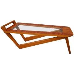 Brazilian Caviuna Wood 1960s Rectangular Coffee Table with Glass Top