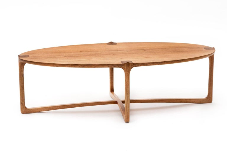 Hand-Crafted Handmade Coffee Table in Hardwood, Brazilian Contemporary Design For Sale