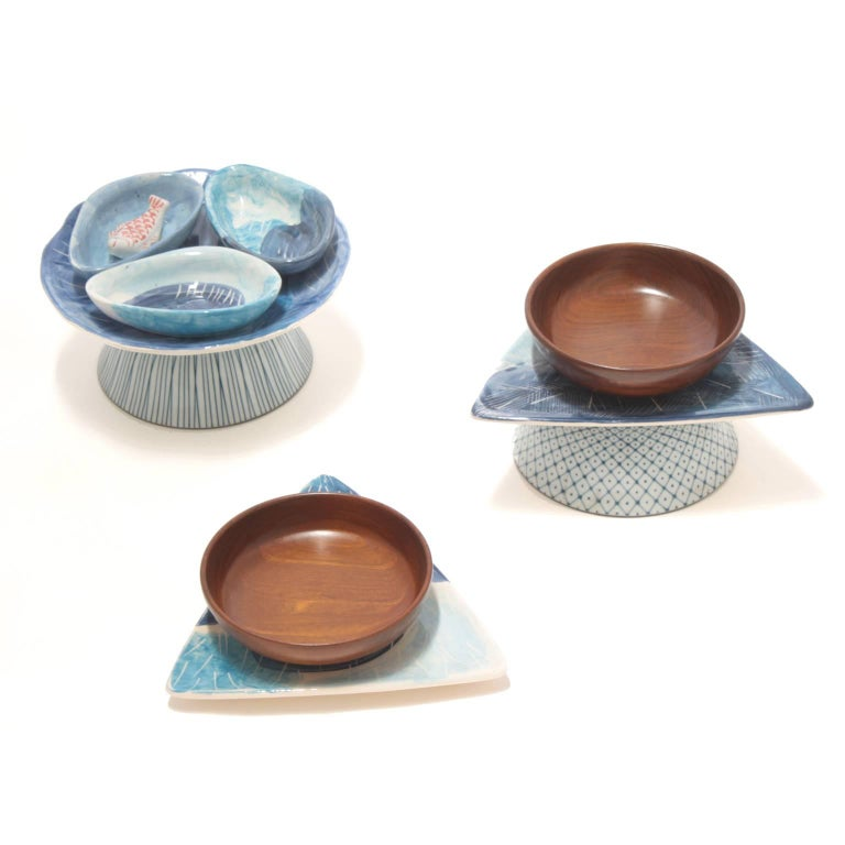 Set of three appetizer ceramic bowls, Brazil, 2014  Brazilian contemporary design by Rodrigo Almeida  Measurement Units Centimeters 22cm D x 9.5cm H 21.5cm x 21cm x 6cm H 21.5cm x 21cm x 12.5cm H  With the outlook of an anthropologist, this