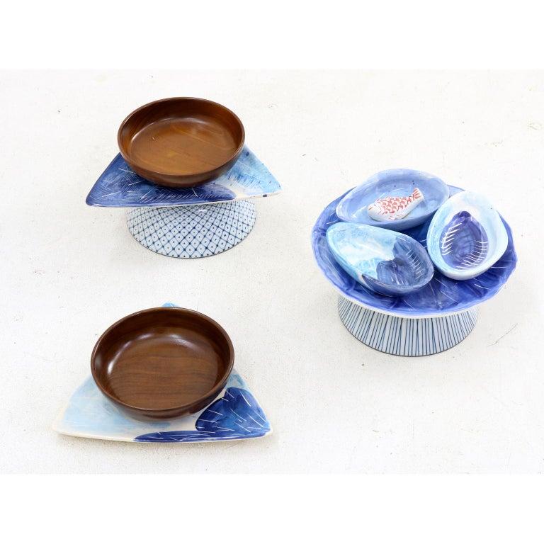 Hand-Crafted Brazilian Contemporary Set of Appetizer Ceramic Bowls by Rodrigo Almeida For Sale