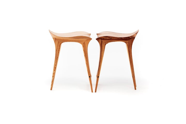 Hardwood Brazilian Contemporary Stool, Solid Wood For Sale