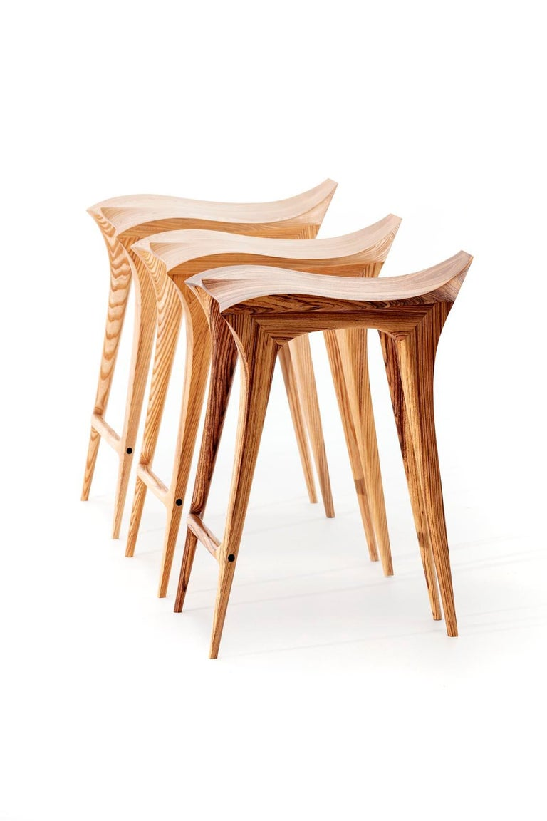 Brazilian Contemporary Stool, Solid Wood For Sale 1