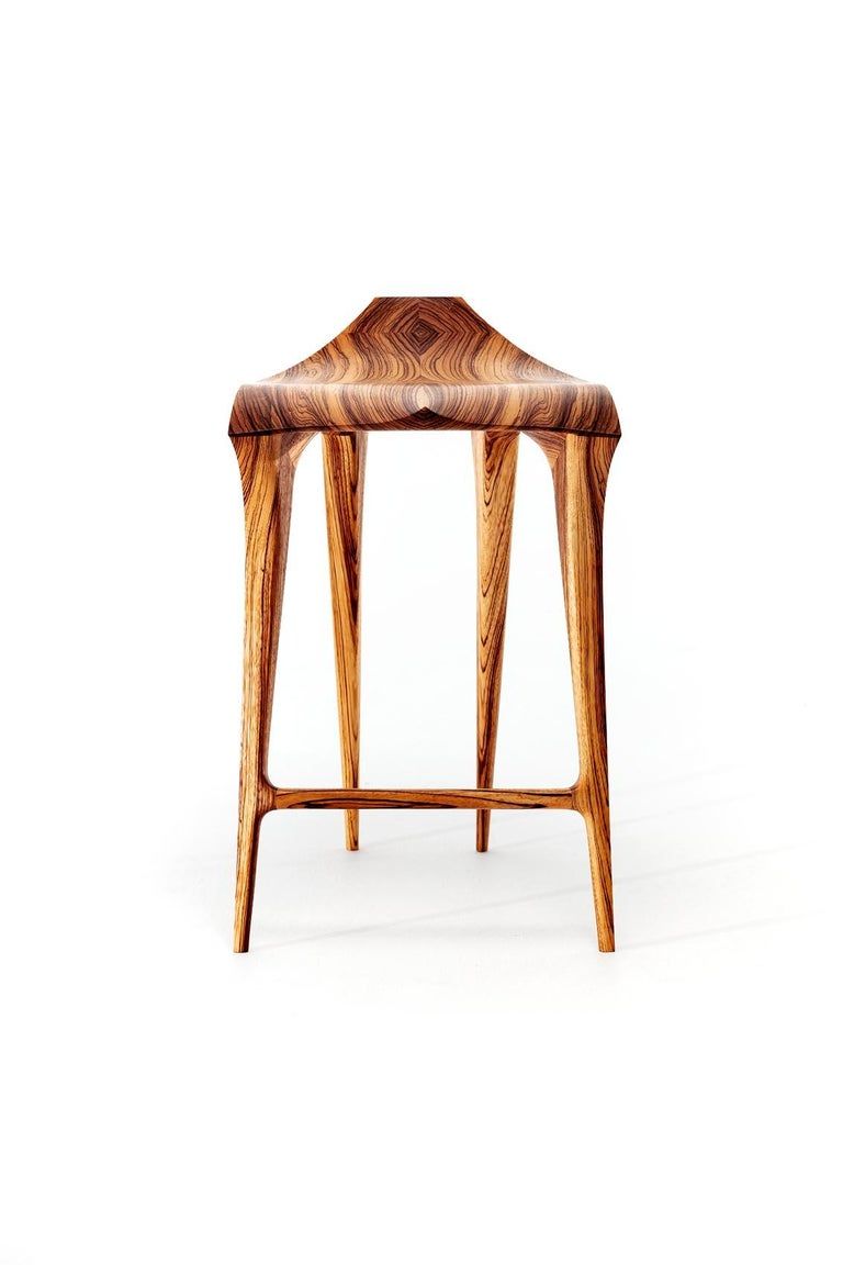 Hand-Crafted Brazilian Contemporary Stool, Solid Wood For Sale