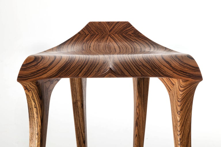 Brazilian Contemporary Stool, Solid Wood For Sale 2