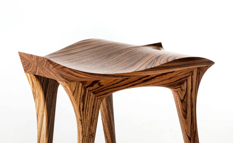 Brazilian Contemporary Stool, Solid Wood For Sale 3