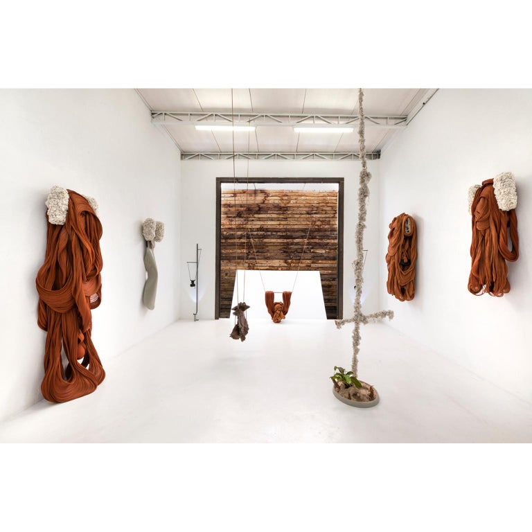Artist: Armarinhos Teixeira Nebulares series (no title) Unique piece Brazil 2018 Materials: polyester, copper and leather The sculpture is hanging on by a leather cord Dimensions Variable  Exhibited - São Paulo, Brazil, Legado Arte Gallery,