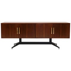 Brazilian Credenza in Afromosia Teak, Sculptural Iron Base, Alabaster Pulls