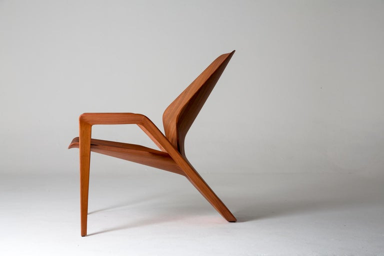 Brazilian Design Contemporary Ava Armchair in Jequitibá Wood For Sale 1