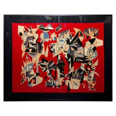 Brazilian Embroidered Abstract Red Tapestry by Genaro de Carvalho, 1960s