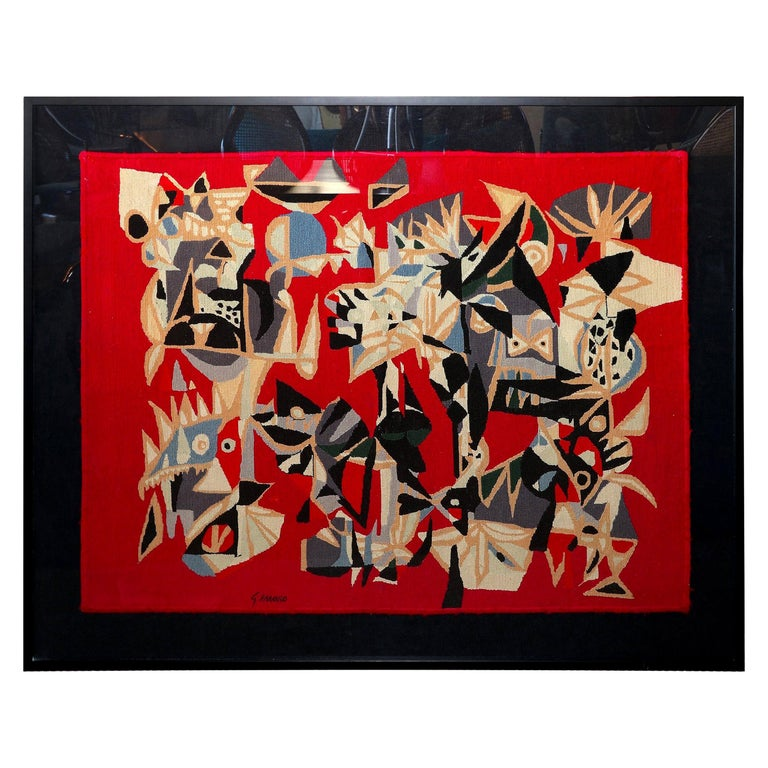 Brazilian Embroidered Abstract Red Tapestry by Genaro de Carvalho, 1960s For Sale