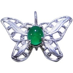 Brazilian Emerald Cabochon in Sterling Silver Butterfly Pendant