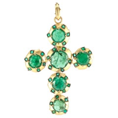 Sylva & Cie Handmade Cross Pendant w/ Brazilian Emerald Slices & 18k Yellow Gold