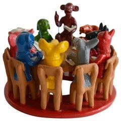 Brazilian Handcrafted Ceramic Sculpture Animal Council