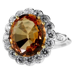Brazilian Imperial Topaz Orange Color 4.8ct and Diamond Cluster Ring in Platinum