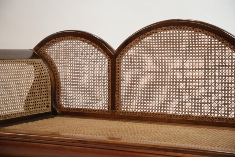 Brazilian Jacaranda Rosewood Sofa with Caning and Scrolled Arms, circa 1930s For Sale 8