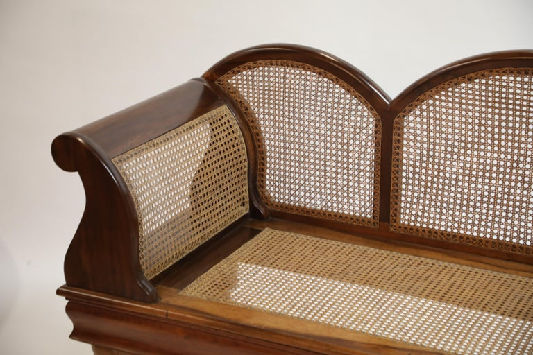 Brazilian Jacaranda Rosewood Sofa with Caning and Scrolled Arms, circa 1930s For Sale 9
