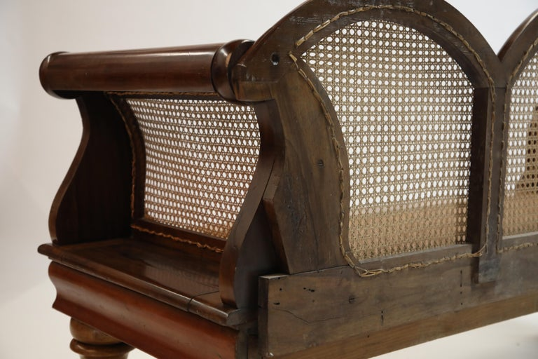 Brazilian Jacaranda Rosewood Sofa with Caning and Scrolled Arms, circa 1930s For Sale 10
