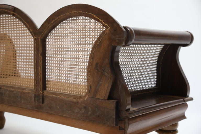 Brazilian Jacaranda Rosewood Sofa with Caning and Scrolled Arms, circa 1930s For Sale 11