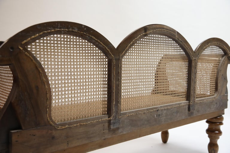 Brazilian Jacaranda Rosewood Sofa with Caning and Scrolled Arms, circa 1930s For Sale 13