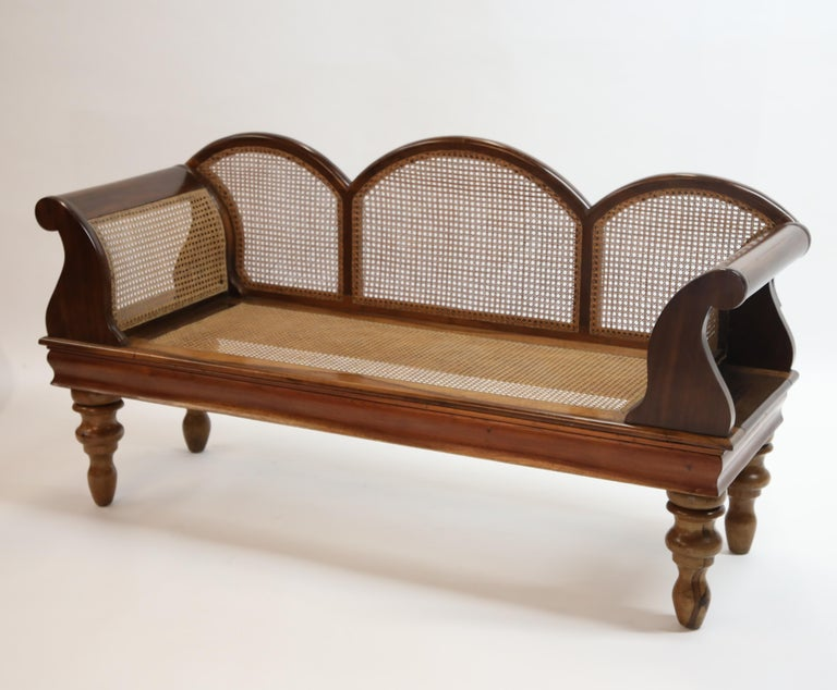 Art Deco Brazilian Jacaranda Rosewood Sofa with Caning and Scrolled Arms, circa 1930s For Sale