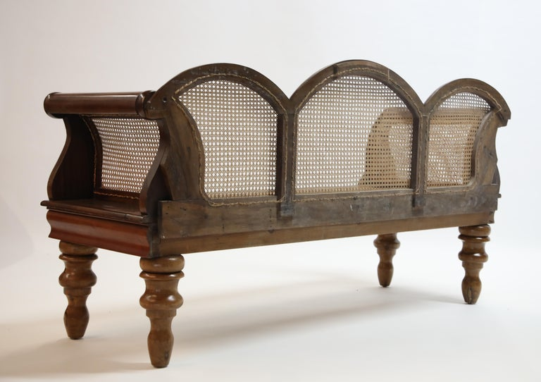 Mid-20th Century Brazilian Jacaranda Rosewood Sofa with Caning and Scrolled Arms, circa 1930s For Sale