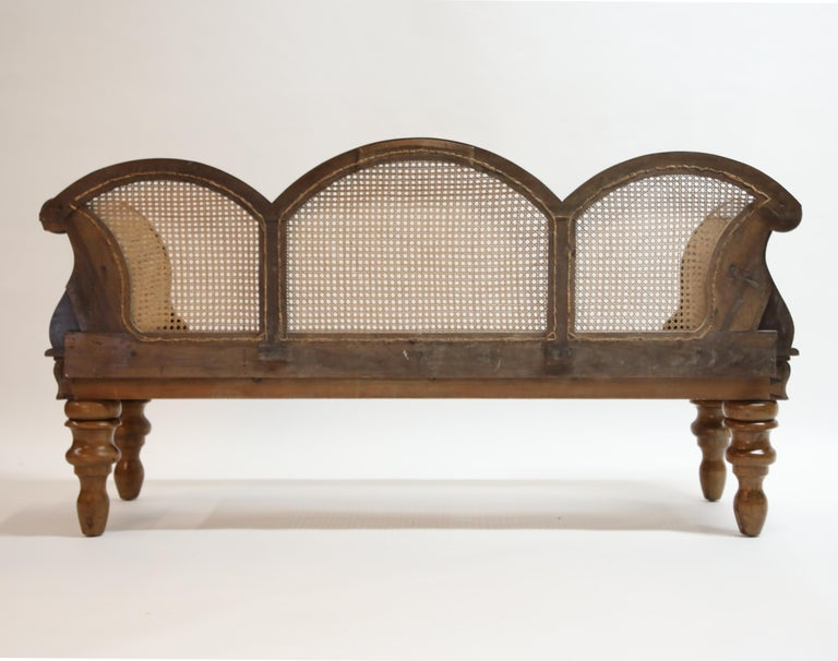 Cane Brazilian Jacaranda Rosewood Sofa with Caning and Scrolled Arms, circa 1930s For Sale