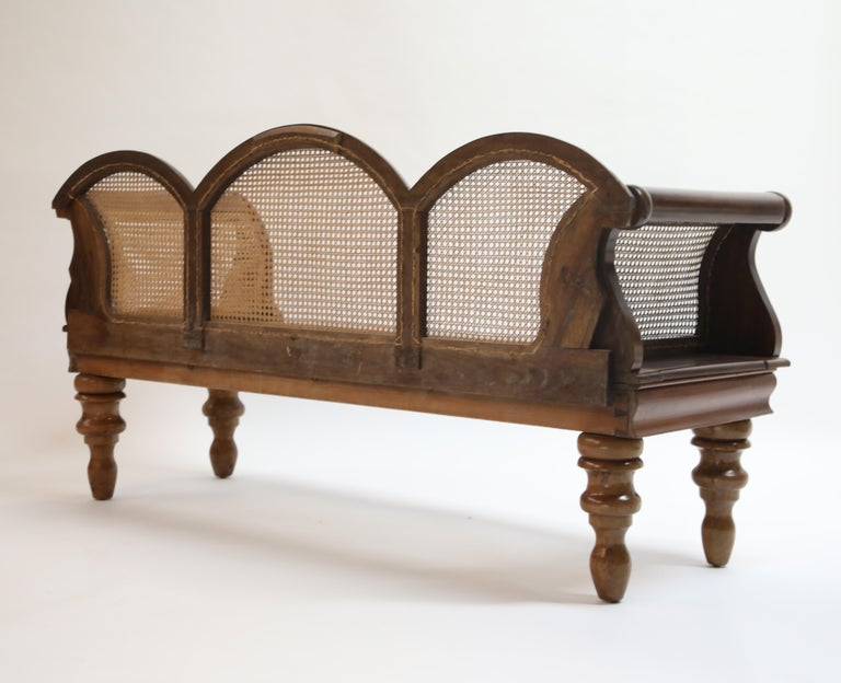 Brazilian Jacaranda Rosewood Sofa with Caning and Scrolled Arms, circa 1930s For Sale 1
