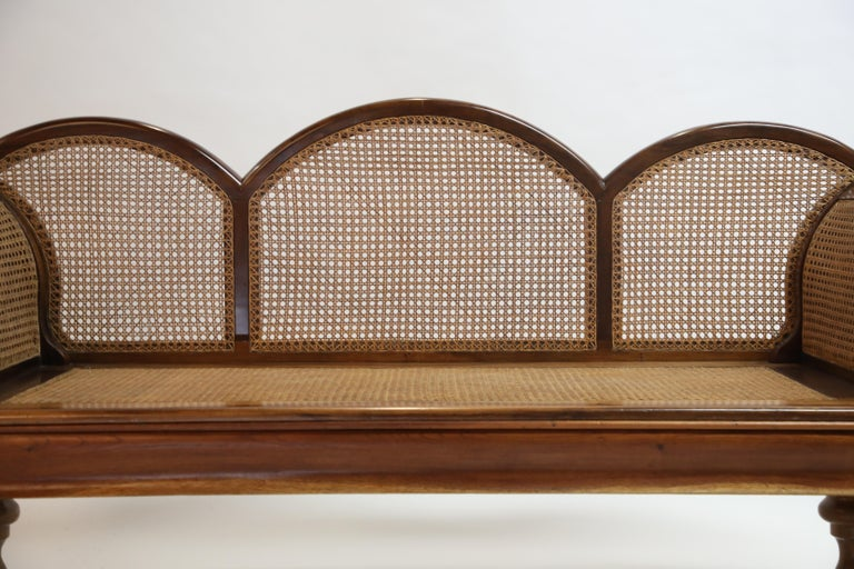 Brazilian Jacaranda Rosewood Sofa with Caning and Scrolled Arms, circa 1930s For Sale 3