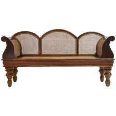 Brazilian Jacaranda Rosewood Sofa with Caning and Scrolled Arms, circa 1930s