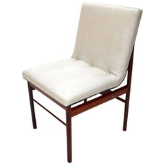 Brazilian Jacaranda Wood and Beige Linen 1960s Dining Chairs by Jorge Zalszupin
