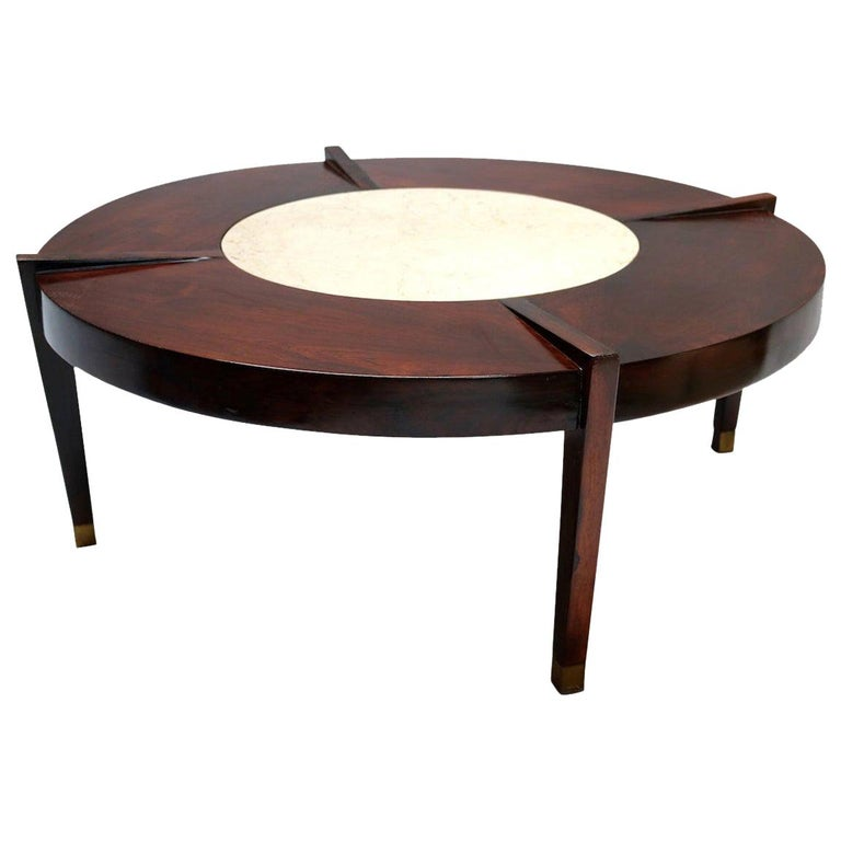 Brazilian Jacaranda Wood and Cream Marble 1960s Round Coffee Table For Sale