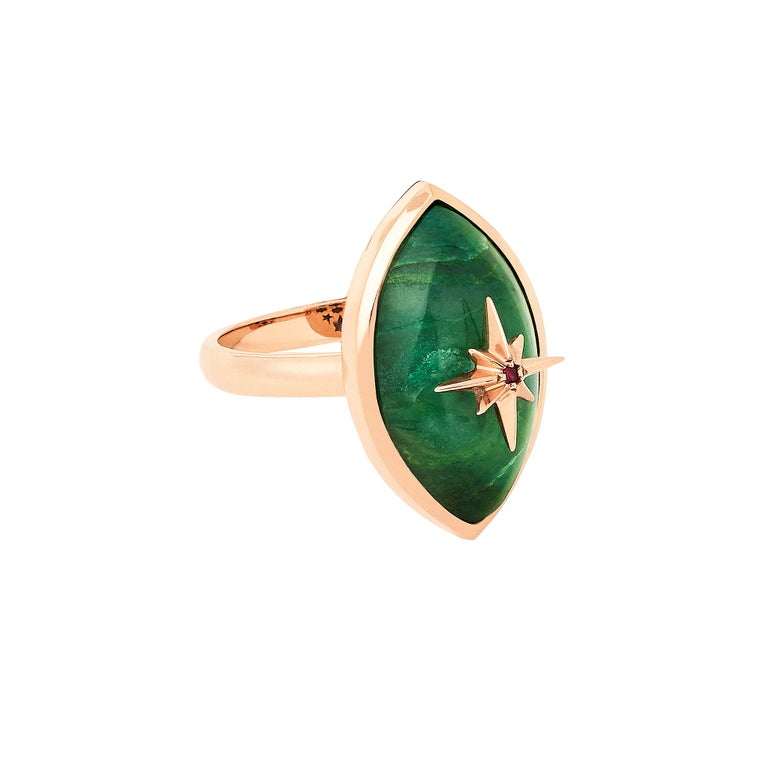 This 14 karat rose gold Marlo Laz miniature Brazilian Jade, Pink Ruby evil eye ring is from our beloved