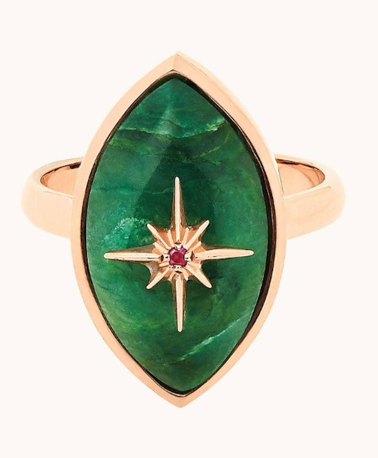 Marlo Laz Brazilian Jade Pink Ruby 14 Karat Yellow Gold Evil Eye Ring In New Condition For Sale In New York, NY