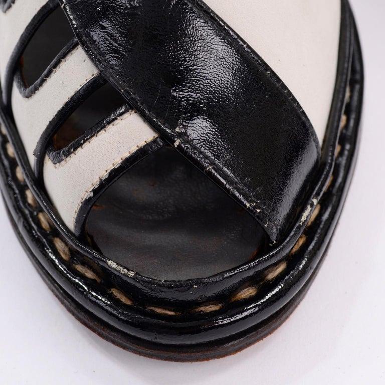 Brazilian Leather 1940s Novelty Peep Toe Platform Heels Piano Key Vintage Shoes For Sale 6