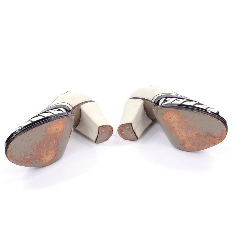 Brazilian Leather 1940s Novelty Peep Toe Platform Heels Piano Key Vintage Shoes For Sale 8