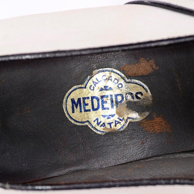 Brazilian Leather 1940s Novelty Peep Toe Platform Heels Piano Key Vintage Shoes For Sale 9